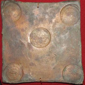 ТМО-1423. Медная плитка Daler весом 4 фунта 9 золотников. 1649 г. Швеция. Медь, чеканка