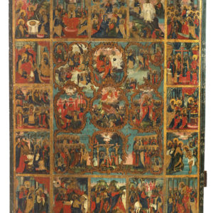 ТМО 20517. Икона Воскресение Христово с праздниками. II половина ХVIII в. Дерево, левкас, темпера