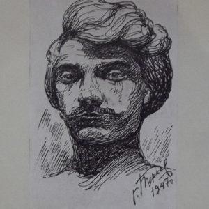 ТМО-37168. Бурков Г.В. Рисунок.Автопортрет. 1947 г. Бумага, тушь, перо