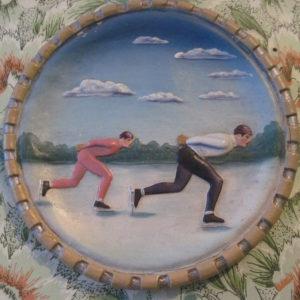 Барельеф «Конькобежцы» 1940 –е годы. Папье – маше, краска, формовка