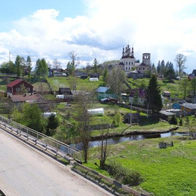 Панорама местности «Старое Усолье». Суморинский мост и церковь Воскресения у соляных варниц